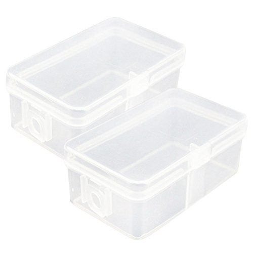 C-Pioneer Set of 4 Mini Clear Plastic Transparent with Lid Storage Box Collect Container Case