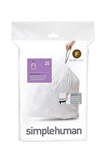 simplehuman Code F Custom Fit Drawstring Trash Bags, 25 Liters / 6.5 Gallon, 1 Refill Pack (20 Count) (Best Trash Compactor 2019)
