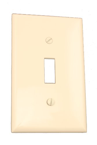 Leviton 80701-T 1-Gang Toggle Device Switch Wallplate, Standard Size, Thermoplastic Nylon, Device Mount, Light Almond - 1 Gang Almond
