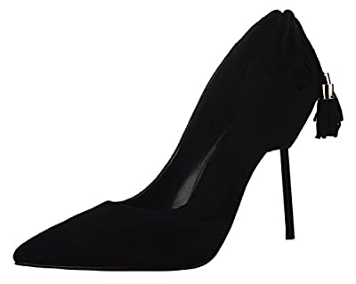 T&Mates Womens Pointed Toe Stiletto High Heels Tassels Pumps For Wedding Party Dress Shoes
