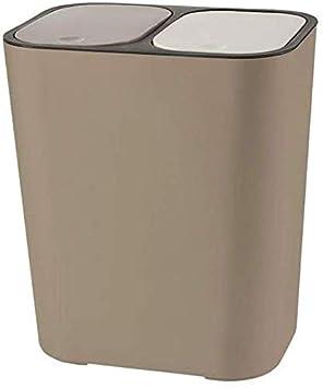 Marron Venus valink Seco y H/úmedo Classified Bote de Basura Pl/ástico Empuje-Tipo Doble Compartimento 15 litros Reciclaje Cubo de Basura Basura Lata Trash Caja Almacenaje Contenedor Organizador