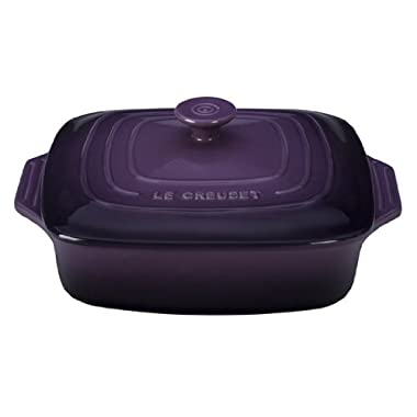 Le Creuset Stoneware Covered Square Casserole, 9.5-Inch, Cassis