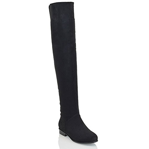 Black Microfiber Knee High Boots - ESSEX GLAM Womens Long Black Faux Suede Over The Knee High Boots 6 B(M) US