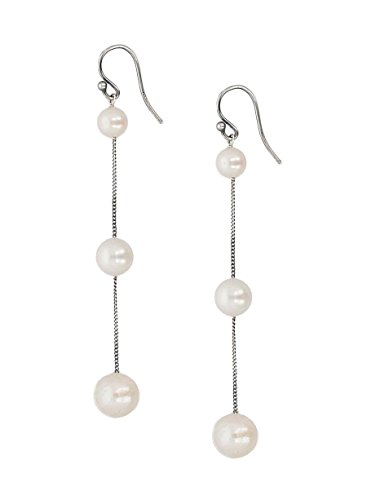(Chan Luu White Cultured Freshwater Pearl Sterling Silver Tiered Chain Drop Earrings)