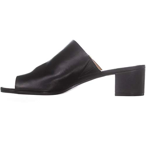Calvin Klein Womens Daria Leather Split Toe Casual Slide, Black, Size 7.0