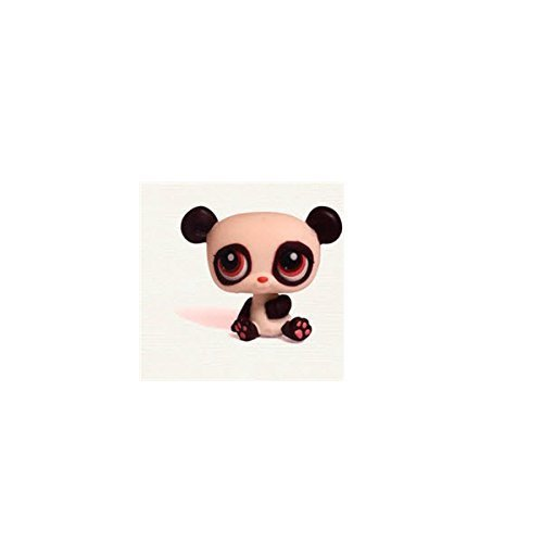 Littlest Pet Shop Baby Panda Bear # 387 (White And Burgundy With Burgundy Eyes) - LPS Loose Figures - Replacement Pets - LPS Collector Toy (Out Of Package/OOP)