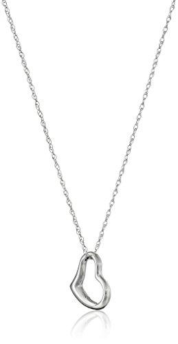 14k White Gold Heart Pendant (14k White Gold Petite Concave Heart Pendant Necklace,)