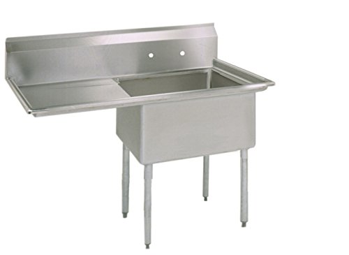 BK Resources Stainless Steel 1 Compartment Sink with Left Hand Drainboard, 38