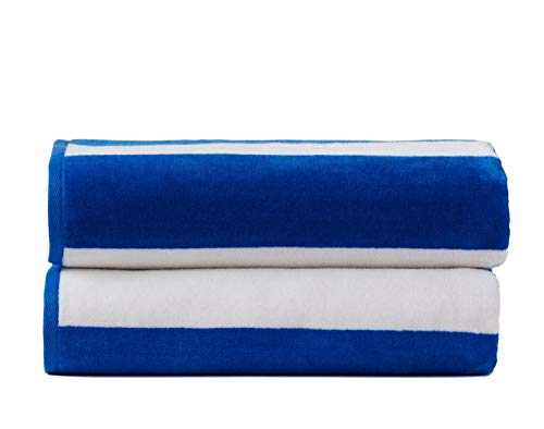 "2 Pack Yarn-Dyed Cabana Stripe Velour Pool and Beach Towels, Extra-Large Size (34""x64""), Super Absorbent, Quick Dry, 420 GSM (Blue and White Color)"