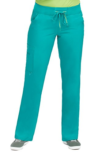 Med Couture Activate Women's Yoga Cargo Pocket Scrub Pant, Medium Tall, Real Teal (Koi Couture)