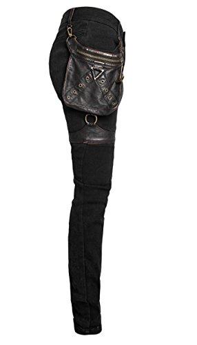 Hose schwarz Steampunk mit Tasche Rückschale und Gurte k-207 Schwarz UTsVzZ