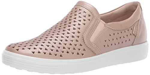 (ECCO Women's Women's Soft 7 Slip-on Sneaker, Champagne Metallic Laser Cut, 38 M EU (7-7.5 US))