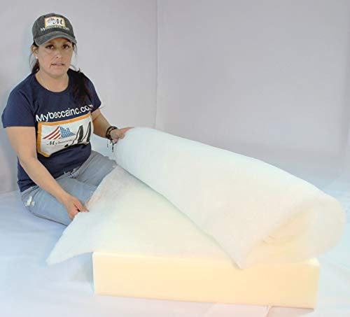 "Mybecca 48 Inch Wide (5 Yards) Quilt Batting Multipurpose Dacron Fiber Polyester Wadding Fabric 1/2"" Loft Upholstery Grade Padding"
