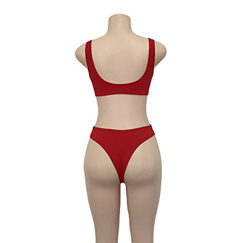 Moda mujer bikini Swimwear Push-up Acolchado Atractivo Bra Traje De Baño Dos Piezas Bikini Sets partido para mujer playa Surf Swim Rojo