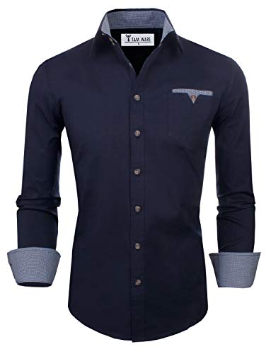 TAM WARE Mens Classic Slim Fit Contrast Inner Long Sleeve Dress Shirts TWNMS310S-8219-NAVY-US ()