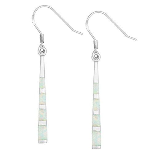 Sterling Silver Created White Opal Long Dangle Earrings