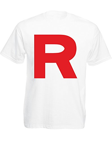 Red R, Mens Printed T-Shirt - White/Red S (Jessie From Team Rocket)