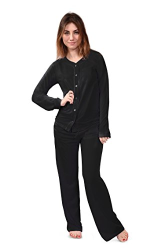 Pangaboo Women's Pajama Sleep Set Bamboo Pajamas, Plush, Comfortable & Hypoallergenic (Natures Bliss) Pajama Gift Set — Ecofriendly & Machine Washable (M, Black)