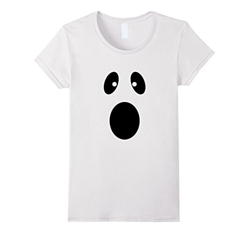 Womens Funny Ghost Mask Halloween T-Shirt costume Small White (Simple But Funny Halloween Costumes)