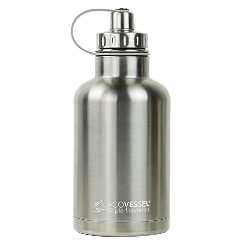 (EcoVessel THE BOSS TriMax Insulated Stainless Steel Beer Growler Bottle With Tea And Fruit Infuser - 64 Ounces - Silver Express)