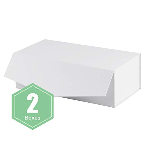 WRAPAHOLIC 2Pcs White Gift Box Rectangular 13x6.5x4.3 Inches, Collapsible Gift Box with Magnetic Closure for Party, Wedding, Gift Wrap, Bridesmaid Proposal, Storage