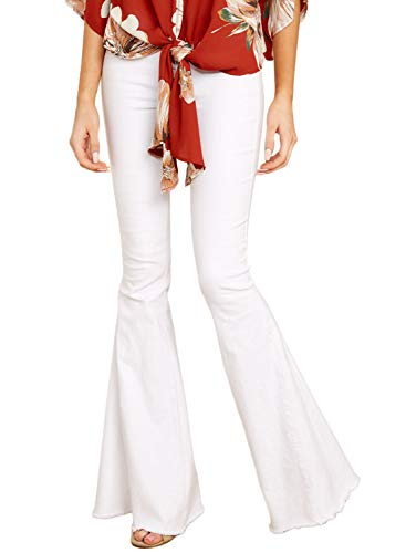 Flared Leg Jeans Pants - Aleumdr Women Fashion Bodycon Pants Denim Leggings Wide Leg Flare Curvy Fit Jeans Size L White