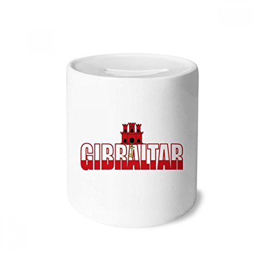 Cases Gibraltar (DIYthinker Gibraltar Country Flag Name Money Box Saving Banks Ceramic Coin Case Kids Adults)