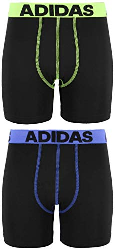(adidas Boys / Youth  Sport Performance Climalite Midway Long Boxer Brief Underwear (2-Pack), Blue, Medium)