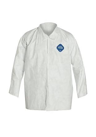 DuPont Tyvek 400 ty303s camiseta, desechables, puños abiertos, 7 x negro, blanco