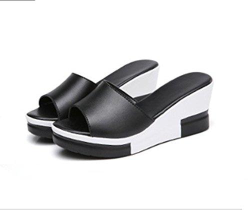 8cm negro AJUNR Transpirable 36 con Sandalias de elegante pendientes Moda 41 bizcochos mujer Zapatos zapatillas ranurado wwqCUTvP