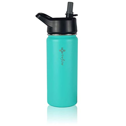 (the flow Premium Stainless Steel Water Bottle [16 oz] | Double-Walled Vacuum Insulated Sports Bottle with Silicone Straw Lid | BPA &Toxin Free)