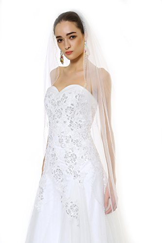 Passat Ivory One Tier 3M Cathedral Bridal Veil Fine Embroidered Scallop Edge Studded Faux Beads Size 1T(3M) Color - Butterfly Ivory Beads