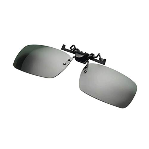 Vosarea Polarized Clip on Sunglasses Unisex Frameless Flip up Clip on Sunglasses Eyeglass Night Vision Goggles for Driving Fishing Traveling (Gray) Size L