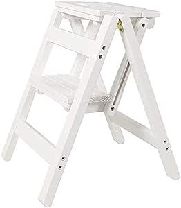 IAIZI General Perfil con Dos Pasos, Taburete de Madera for Las escaleras Cena Las sillas for niños y Adultos, la Herramienta de jardinería doméstica, Robusta, de hasta 200 kg en el Blanco: