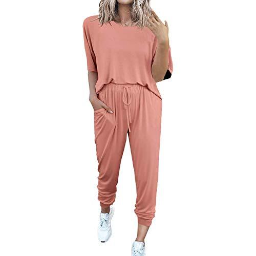 Nikula Dames 2-delige trainingspak met korte mouwen Loungewear Set Plus Size Crew Neck Sweatshirt en trekkoord Baggy…