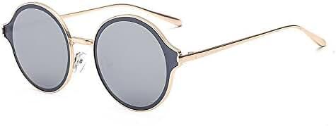 SojoS Womens Mens Stylish Metal Frame Flat Lens Round Sunglasses SJ1058