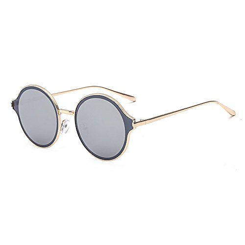 SojoS Womens Mens Stylish Metal Frame Flat Lens Round Sunglasses SJ1058 With Gold Frame/Silver Miror (Cheap Coloured Contact Lenses)