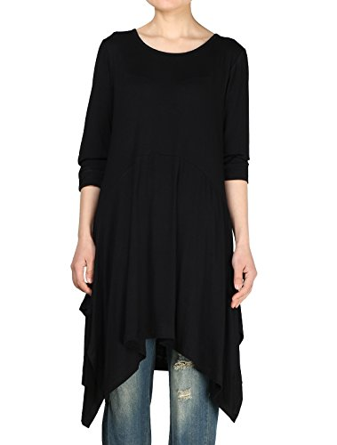 (Mordenmiss Women's Handkerchief Hem Tunic Tops Basic Shirt 11 Colors Size 3XL Black)