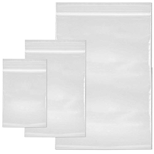 SteadMax 120 Resealable Clear Plastic Bags, 3 Size Variety Pack (3.5