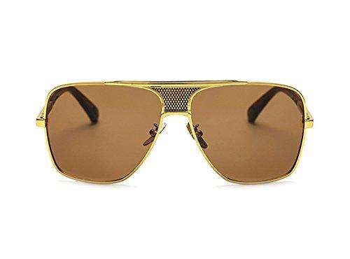 Cuadrado Vintage Hombre Unisex Clásicas Aviador Gafas Oro De zhxinashu Metal Marco Retro Té uv400 Sol Lente Grandes Redondas tqx8wnIH