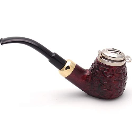 (Mr. Brog Full Bent Smoking Tobacco Pipe - Model No: 21 Old Army Mahogany Rusticated - Pear Wood Roots - Hand Made)