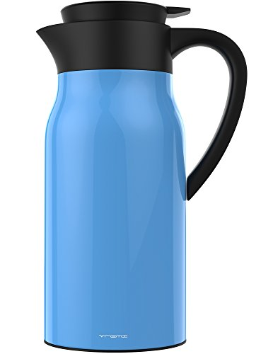 Vremi Coffee Carafe Thermos - 1.5 Liter Stainless Steel Coffee Travel Thermos Vacuum Insulated Thermal Carafe - 51 Oz Hot Drink Carrier Container Leak Proof Lid - 12 Hour Heat Cold Retention - Blue