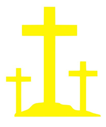 3 Crucifix Crosses Sticker Decal Vinyl (Yellow, - Yellow Crucifix Cross