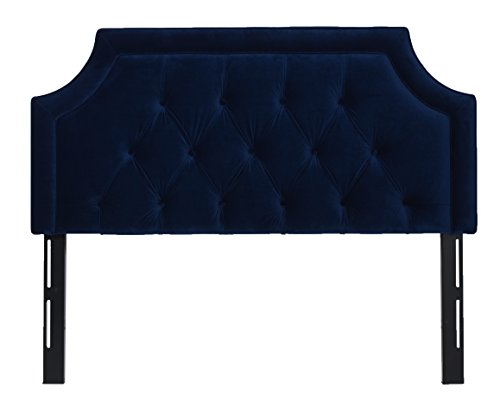 Jennifer Taylor Home Kaye Collection Queen Size Size Modern Adjustable Diamond Tufted Bed Headboard, Queen Size, Navy Blue (Navy Headboard Velvet)