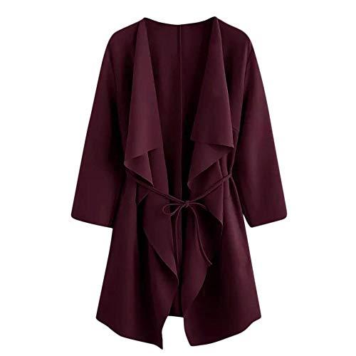 Redshop Women's Solid Color Casual Waist Cardigan Ruffled Jacket Long Sleeve Sleeve Jacket -