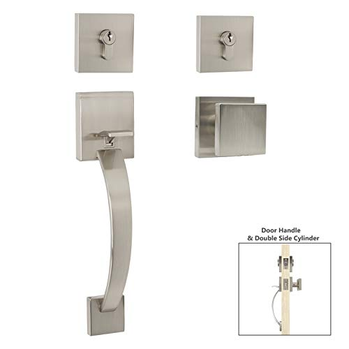 Entry Door Handle Locks Modern Style Single Cylinder Handleset with Square Knob Handle & Deadbolt Lock Set (Satin Nickel Finish) -Keyed on One Side Handleset