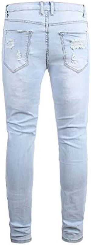 Cinnamou dżinsy męskie ze stretchu, dżinsy z dziurką, z suwakiem, slim fit: Odzież