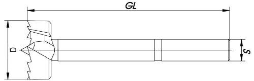 10 mm NL 60 mm GL 120 mm ENT 40410 Multi-Spur-Bit metrisch S 12,7 mm mit 3 Fl/ächen D Durchmesser