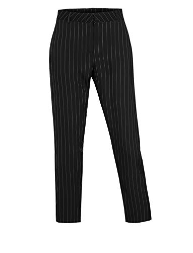 Womens Striped Nautical Pin - LE3NO Womens Classic Work Office Pin Striped Straight Leg Full Length Pants,Black,Medium