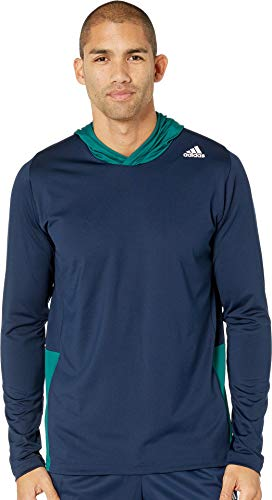 adidas Training Back to School Training Hoodie, Collegiate Navy/Noble Green/White, X-Large